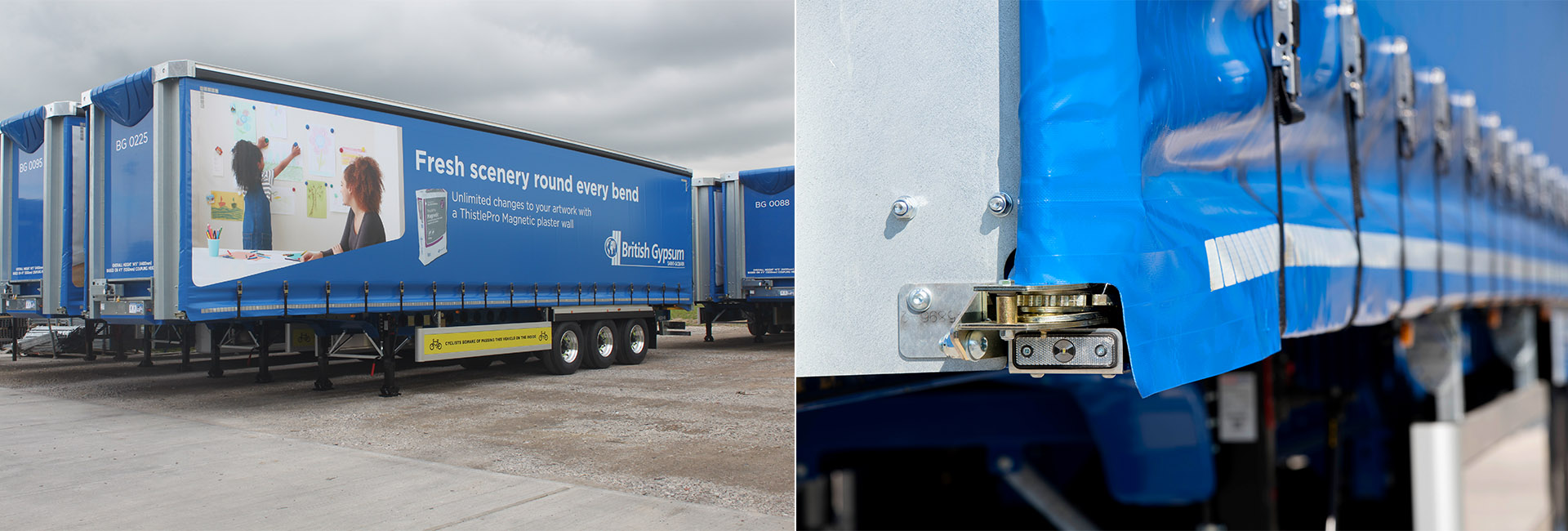 Case study - British Gypsum XPO curtainsiders - recessed ratcher curtain load securing captive rave innovation