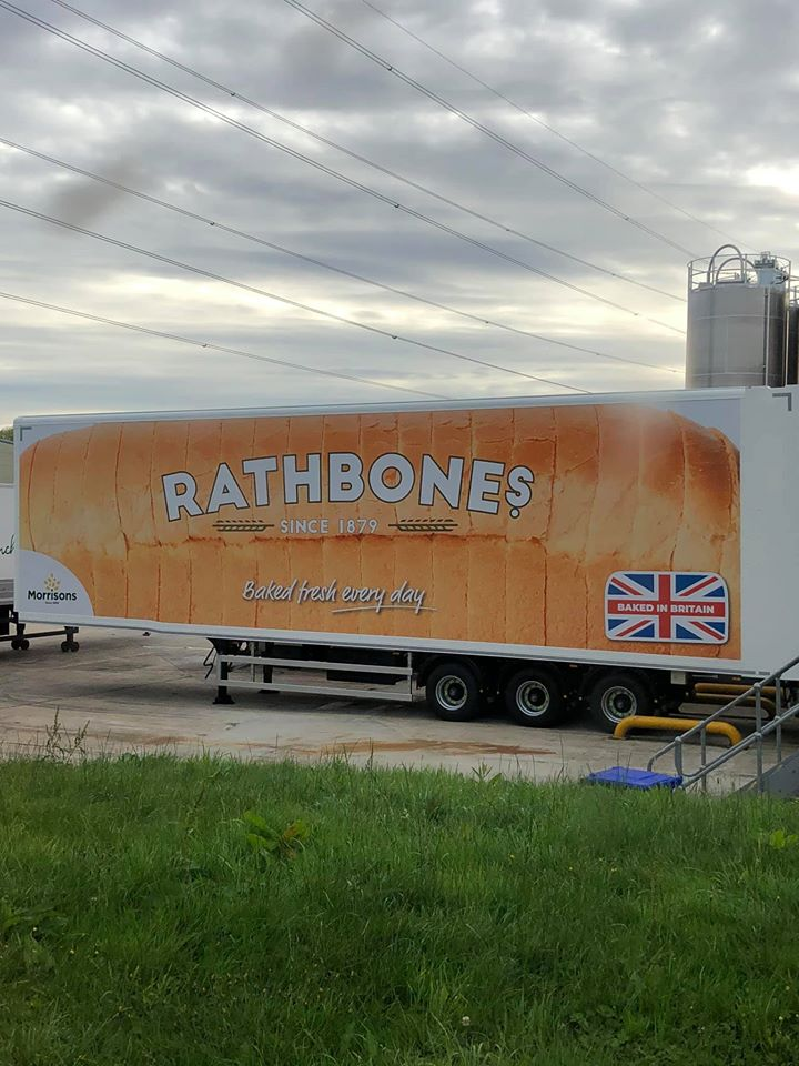 Rathbones bread moving double deck trailer spotted at Morrisons