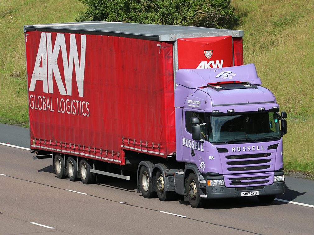 AKW Global Logistics double deck curtainsider Tiger trailer spot by Tim Pickford