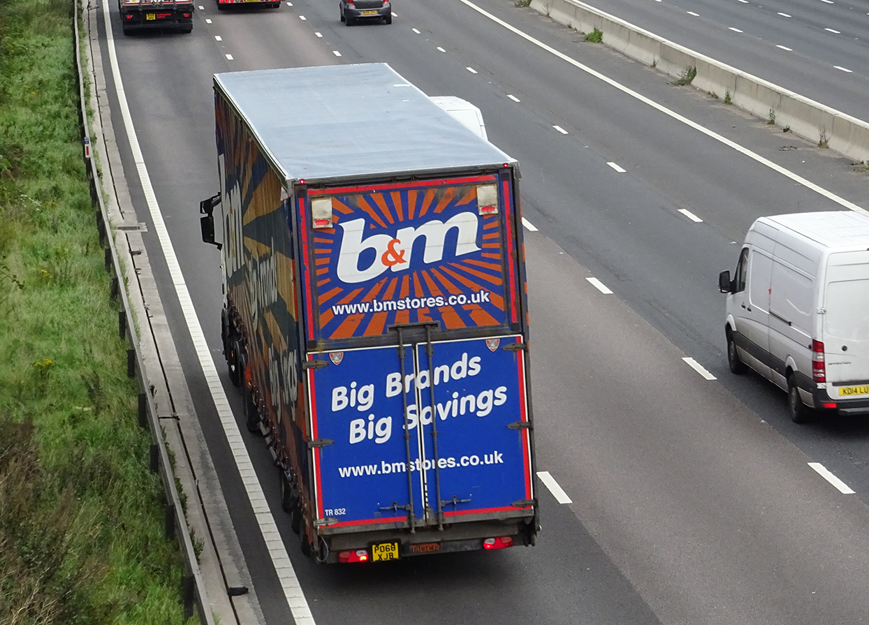 B and M retail double deck trailer Tiger tag spot