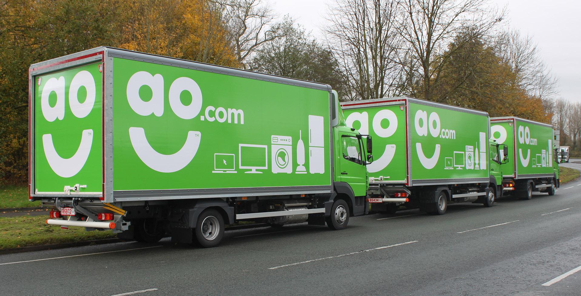 Case study - AO-com appliances online rigid trucks light aerodynamic Mercedes Atego trio lineup