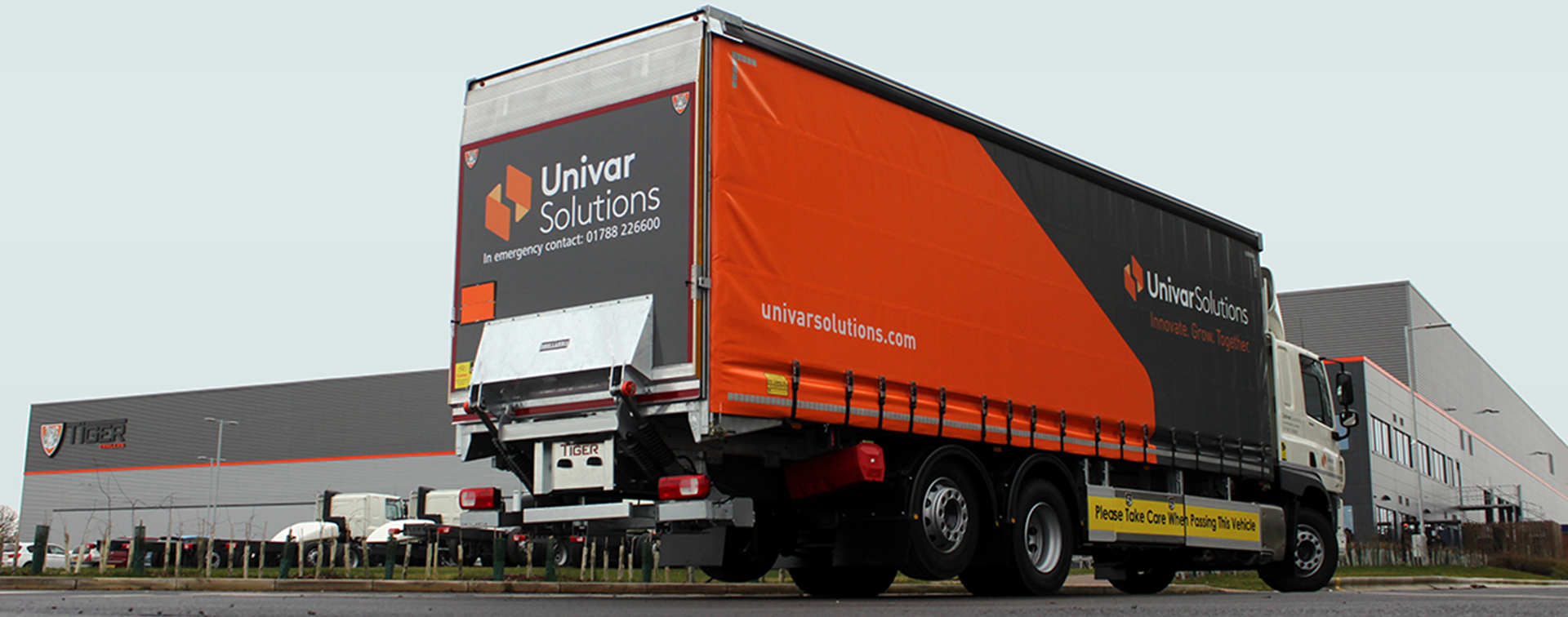 Case study - Univar rigid curtainsider outside factory