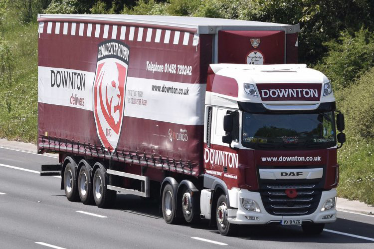 Downton trailer spotted EV Cargo Gloucester Rugby curtainsider Tiger