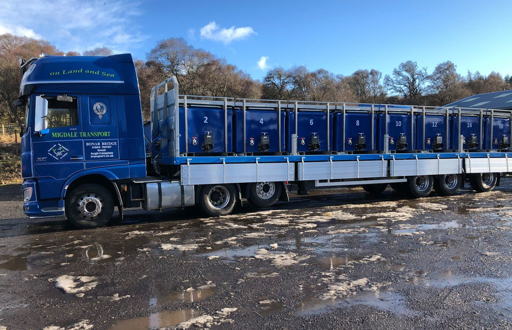Migdale Transport Scotland specialist flatbed trailer for live salmon fish tank transport hatcheries farms