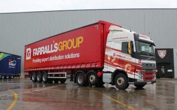 News - Farralls Group warehousing storage distribution curtainsiders Volvo trucks front