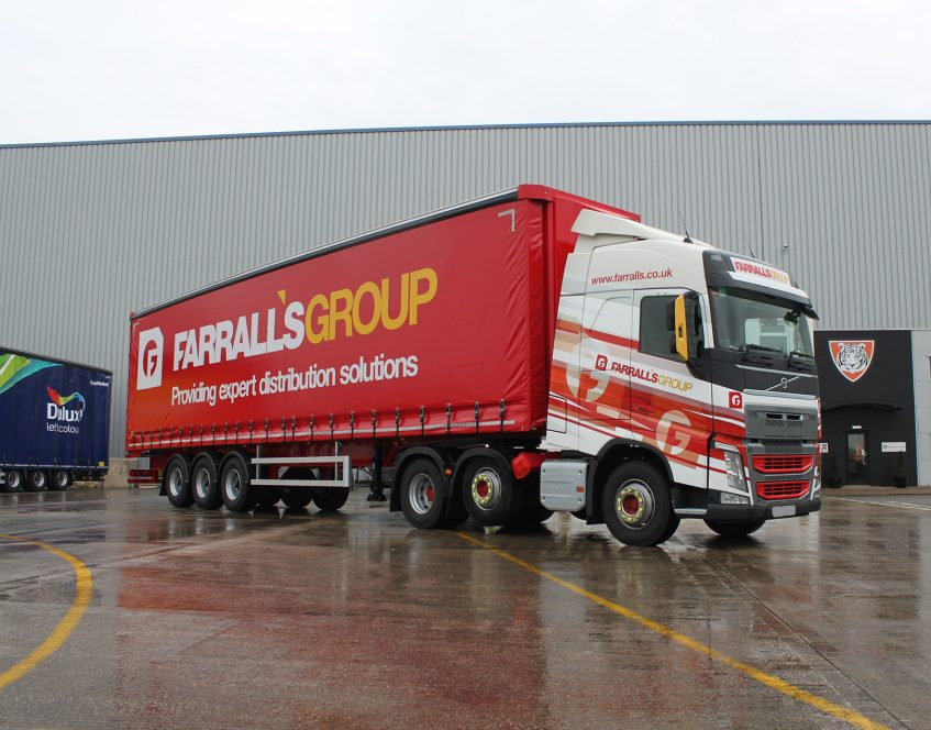 News - Farralls Group warehousing storage distribution curtainsiders Volvo trucks front