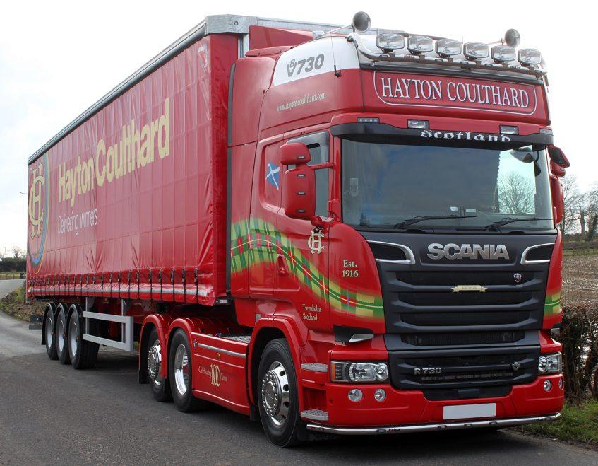 News - Hayton Coulthard Scottish haulier curtainsider fleet order V8 HCT Scania R730 truck tractor unit