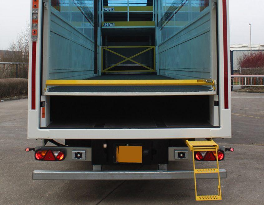 Longer semi trailer LST Howard Tenens 3PL logistics Tool Station internal deck floor step ladder