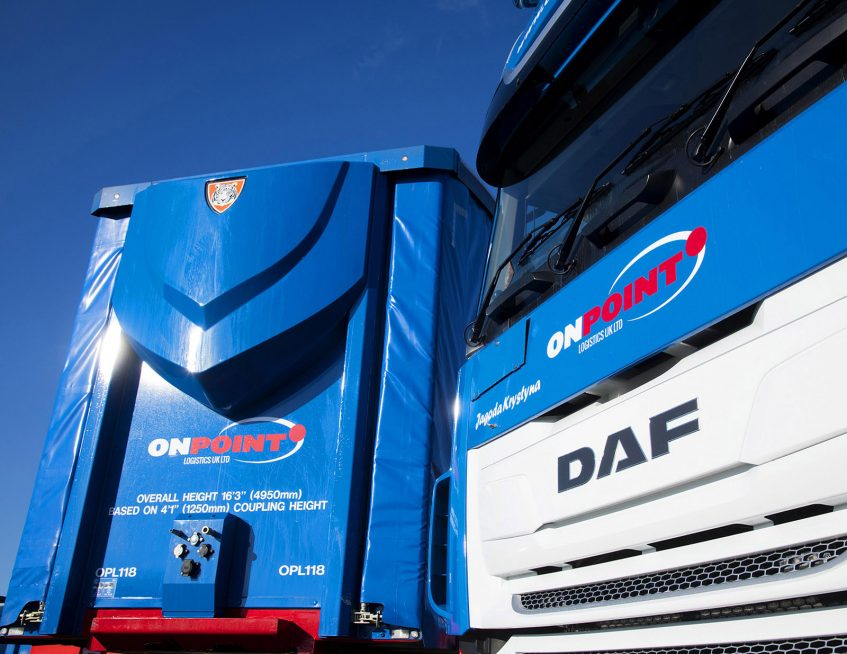 OnPoint Logistics straightframe double deck tallboy DAF XF
