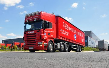 Customised P&B Foods Bradford urban curtainsider with Scania